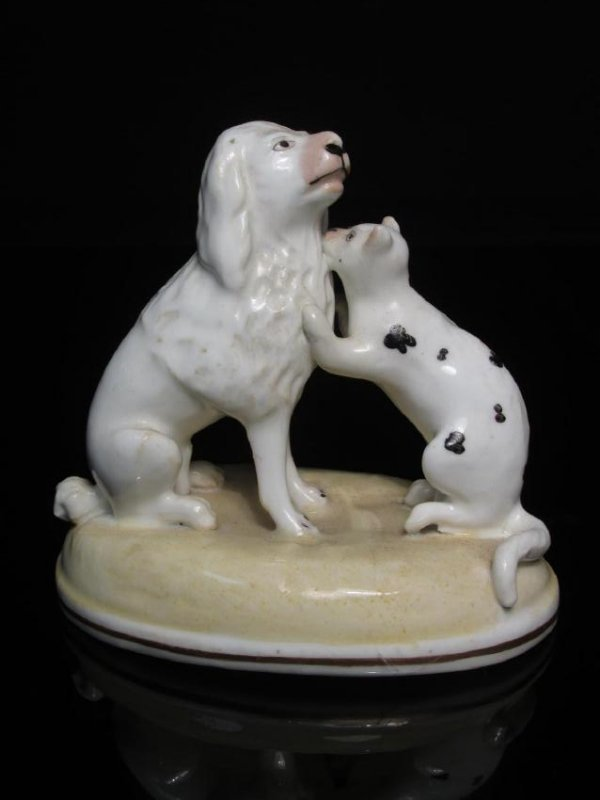 19TH C ALCOCK STAFFORSHIRE PORCELAIN DOGS & ANIMAL - 2