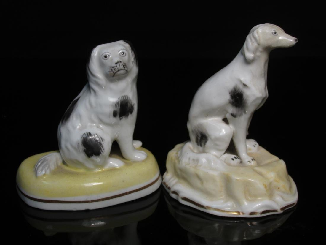 19TH C ALCOCK STAFFORSHIRE PORCELAIN DOGS & ANIMAL - 3