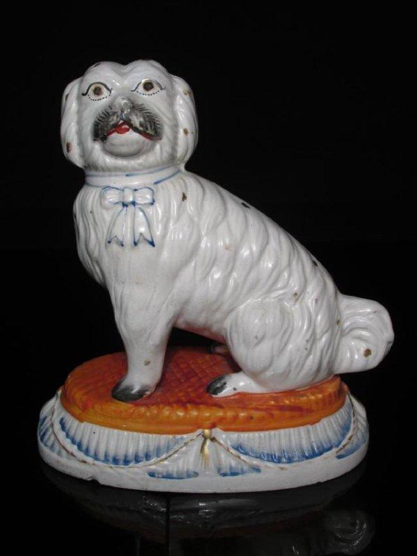 RARE 19TH C STAFFORDSHIRE PORCELAIN MALTESE DOG