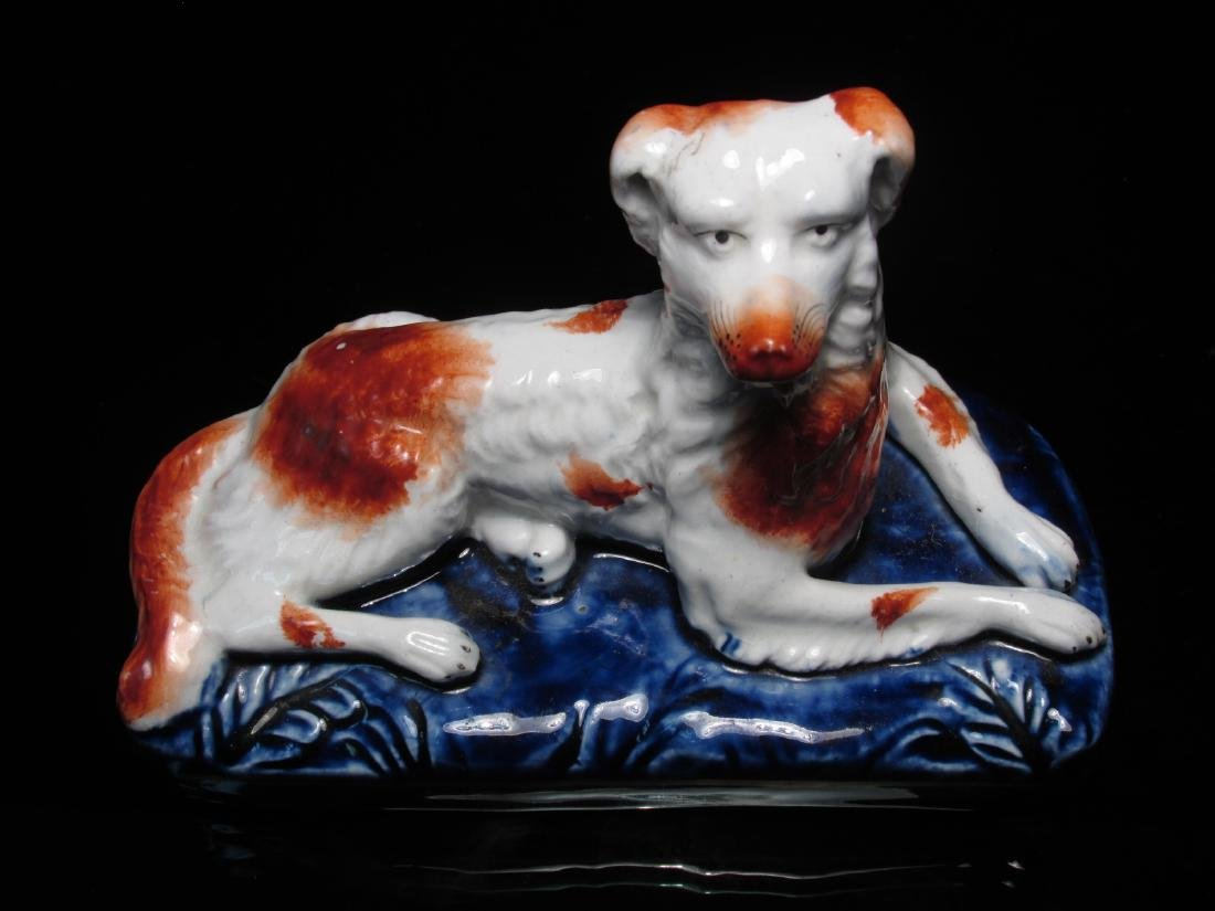 TWO 19TH C STAFFORDSHIRE PORCELAIN FIGURINES DOGS - 4