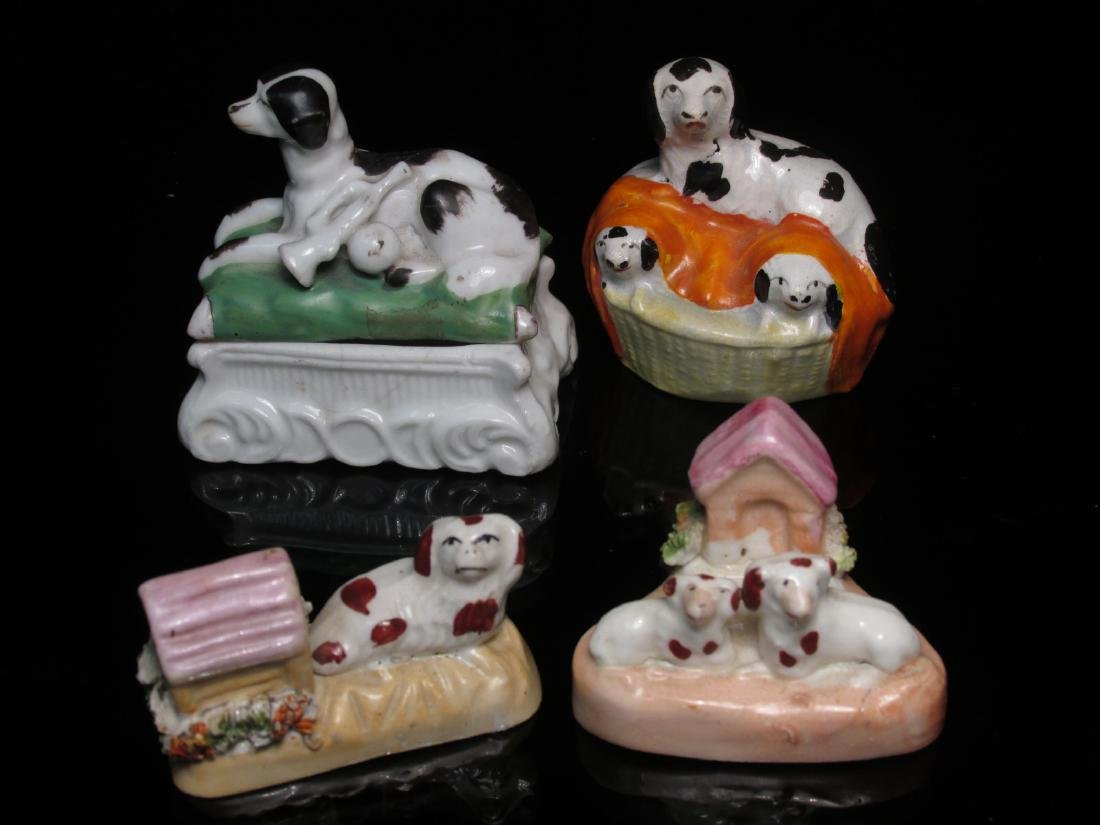 FOUR 19TH C STAFFORDSHIRE MINIATURES: DOG BOX ETC