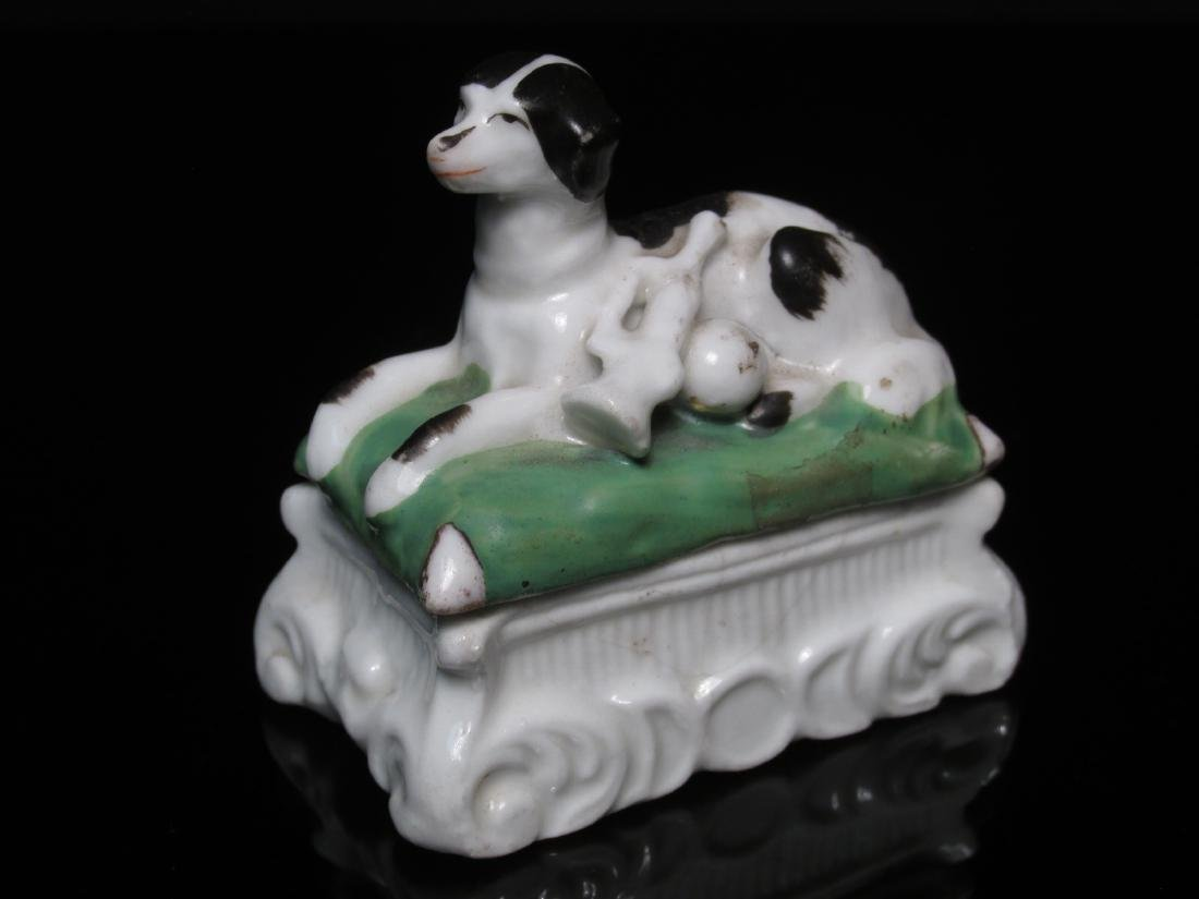 FOUR 19TH C STAFFORDSHIRE MINIATURES: DOG BOX ETC - 4