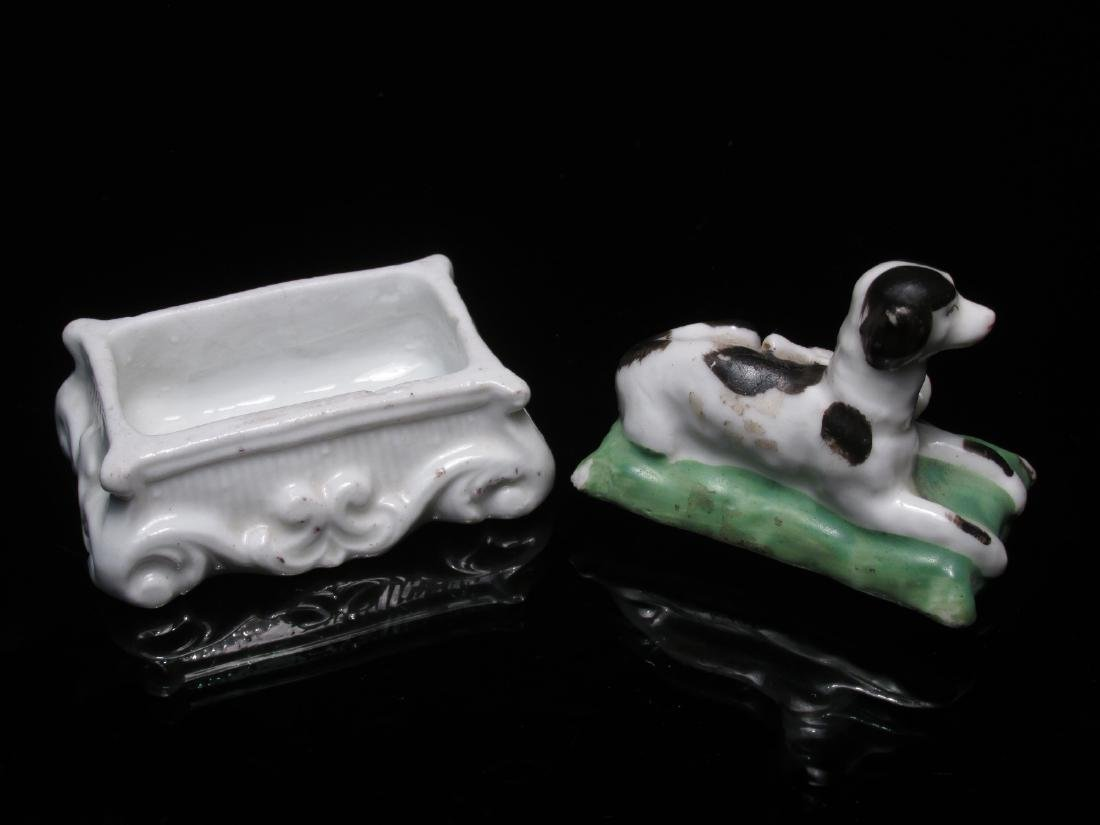 FOUR 19TH C STAFFORDSHIRE MINIATURES: DOG BOX ETC - 5