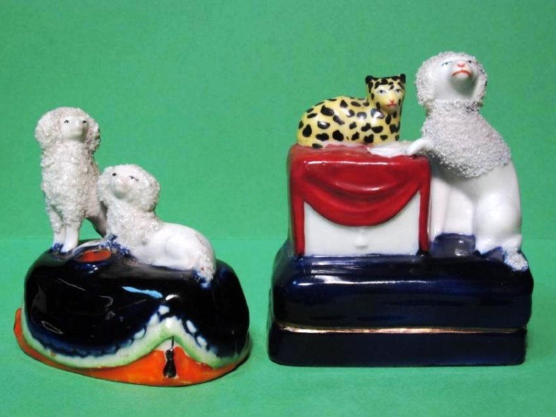 TWO MINIATURE STAFFORDSHIRE PORCELAIN INKWELLS