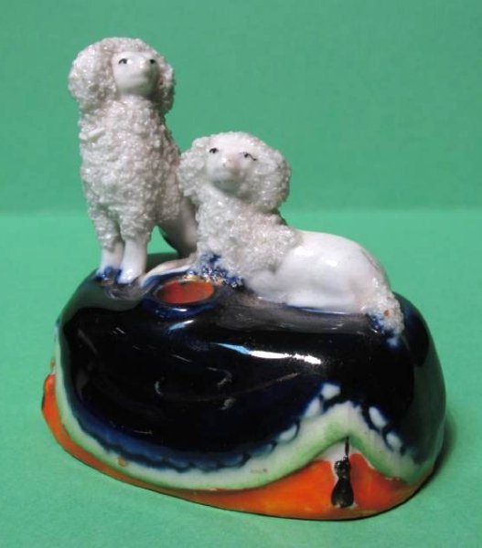 TWO MINIATURE STAFFORDSHIRE PORCELAIN INKWELLS - 2