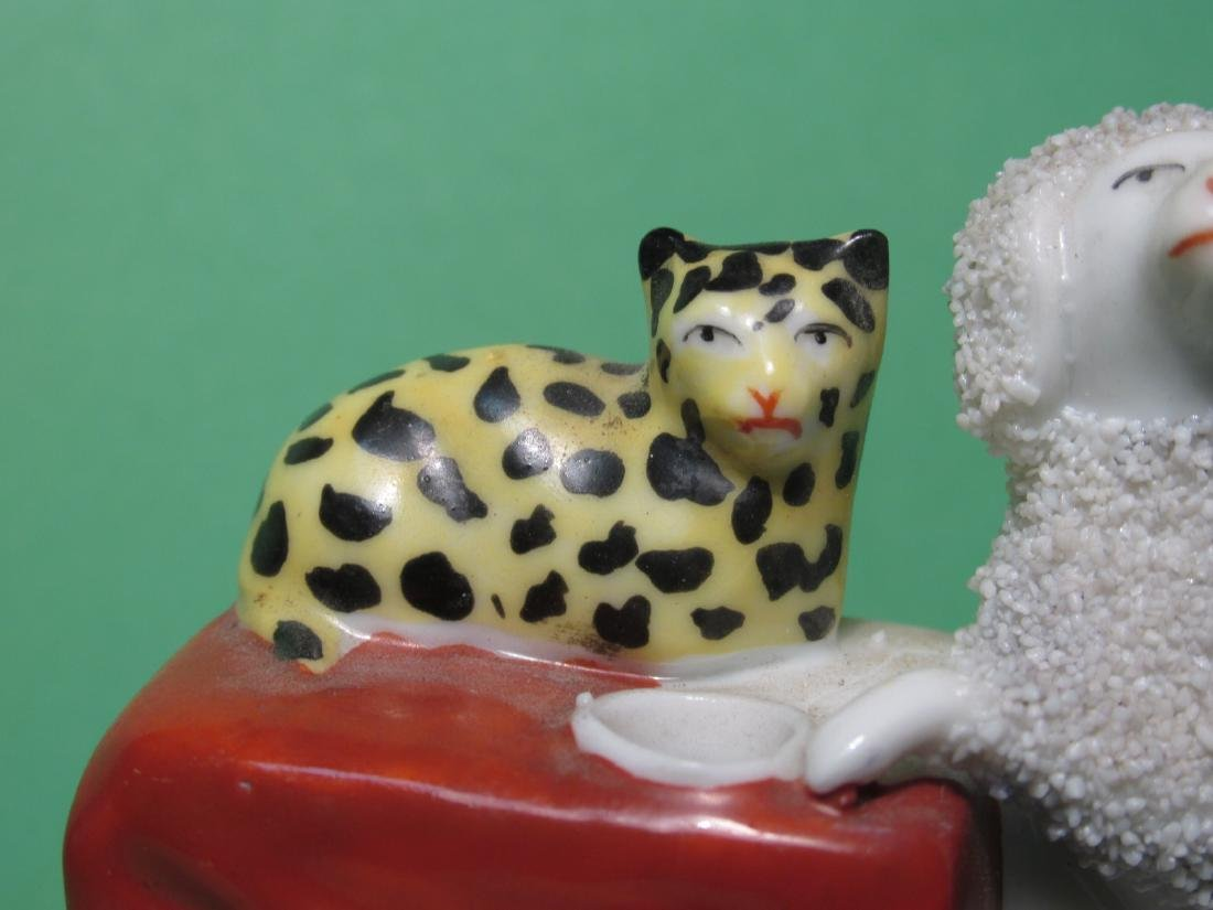 TWO MINIATURE STAFFORDSHIRE PORCELAIN INKWELLS - 8