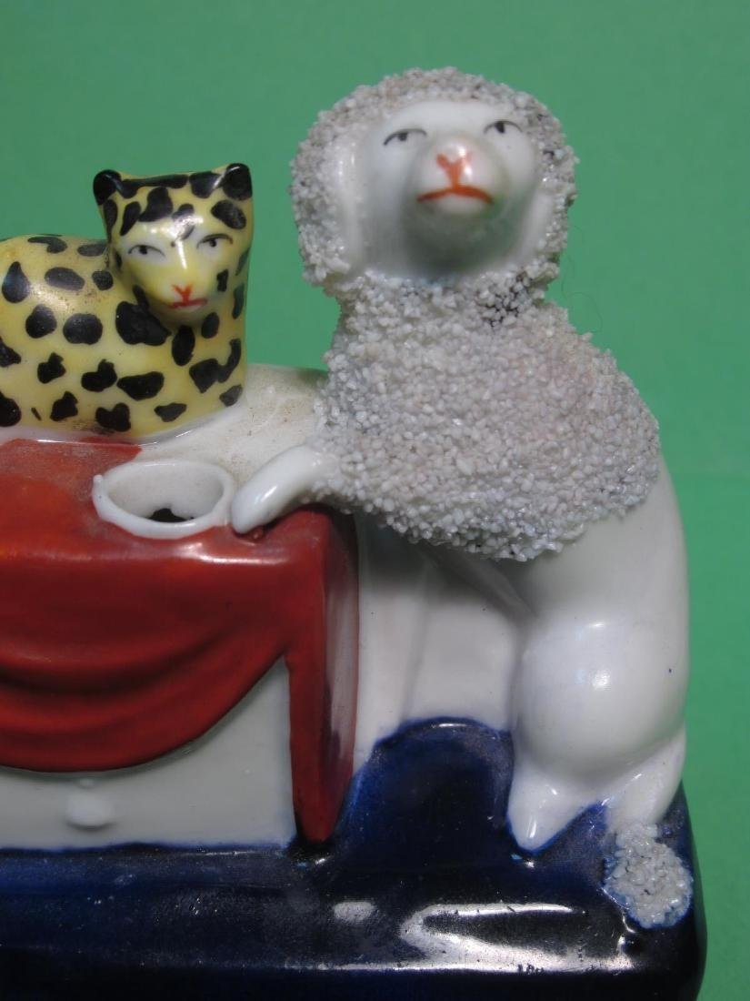 TWO MINIATURE STAFFORDSHIRE PORCELAIN INKWELLS - 9