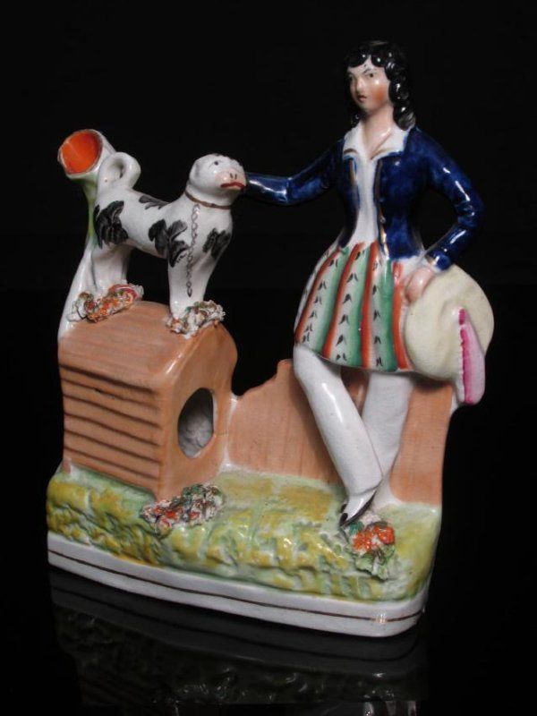 19TH C STAFFORDSHIRE POTTERY WOMAN W/ DOG