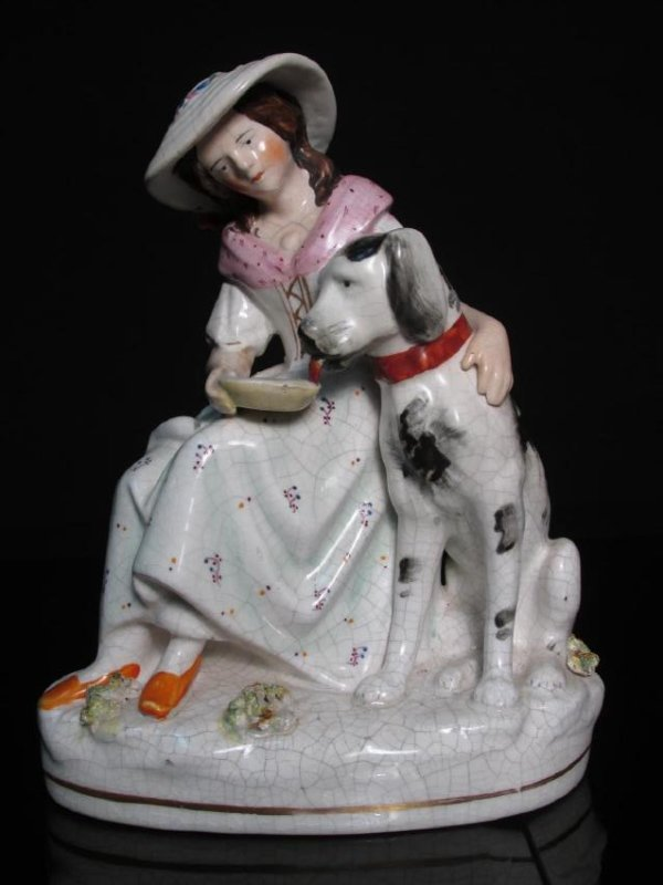 19TH C STAFFORDSHIRE PORCELAIN FIGURINE GIRL & DOG