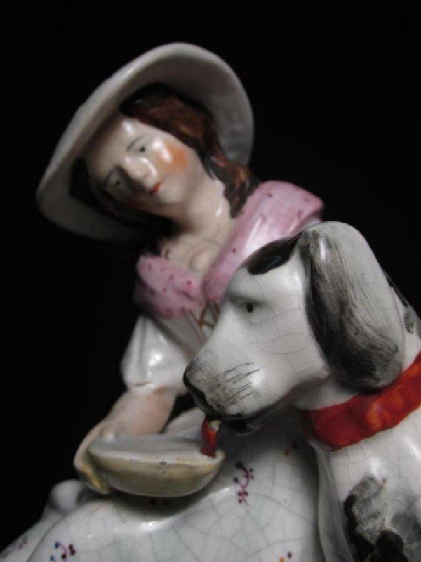 19TH C STAFFORDSHIRE PORCELAIN FIGURINE GIRL & DOG - 2