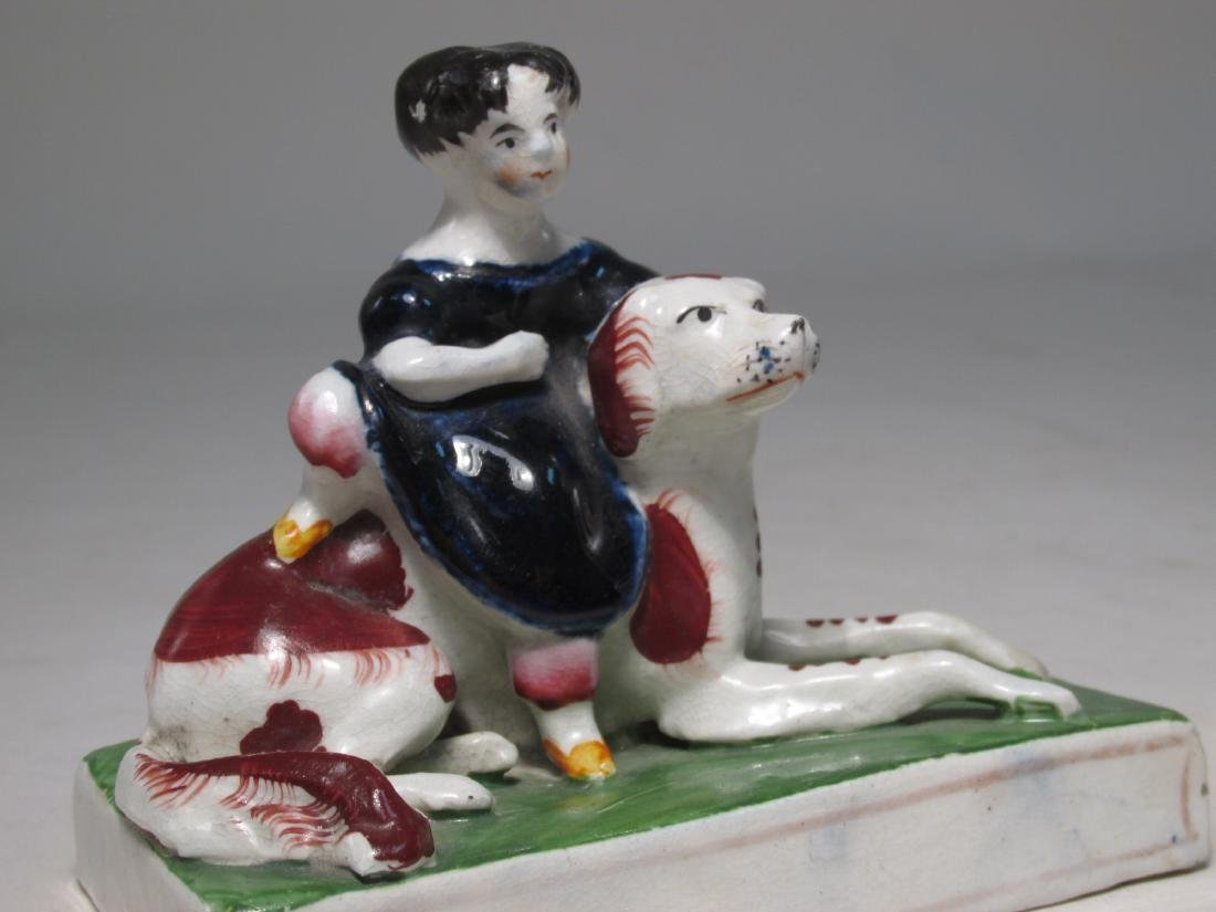 PAIR STAFFORDSHIRE FIGURES ROYAL CHILDREN W/ DOGS - 2