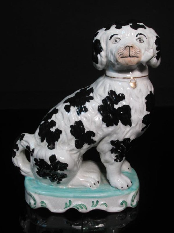 19TH C STAFFORDSHIRE SPANIEL w/ PIPE FIGURINE