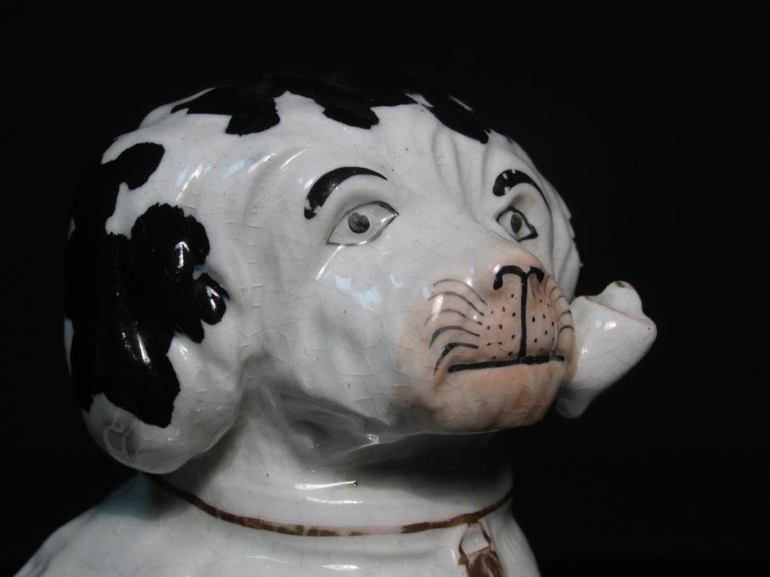 19TH C STAFFORDSHIRE SPANIEL w/ PIPE FIGURINE - 2
