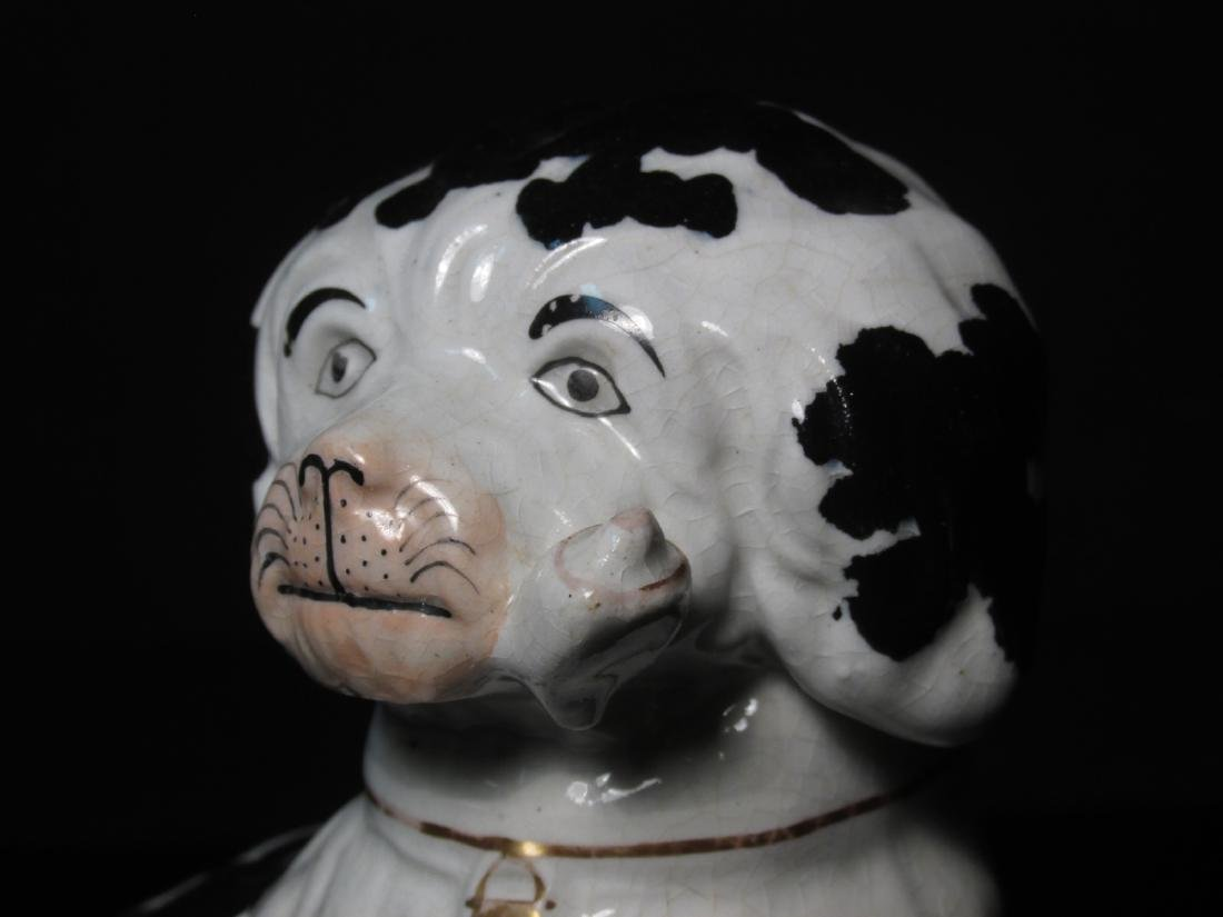 19TH C STAFFORDSHIRE SPANIEL w/ PIPE FIGURINE - 3