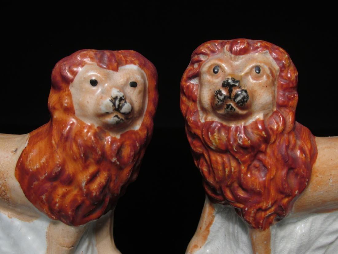 PAIR 19TH C STAFFORDSHIRE PORCELAIN LIONS - 2