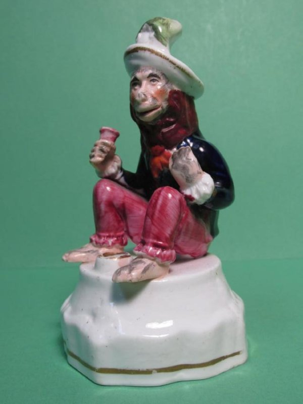 19TH C STAFFORDSHIRE SITTING MONKEY INKWELL