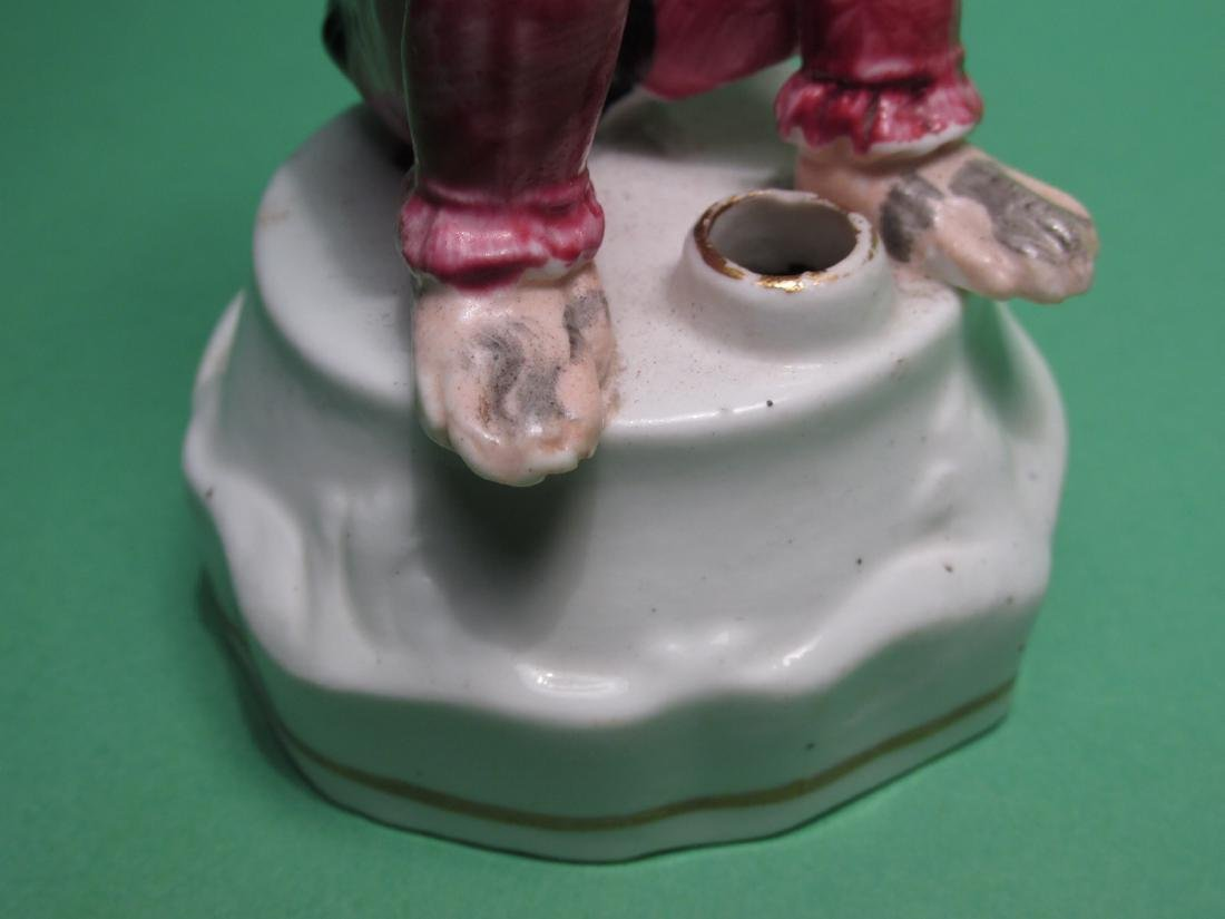 19TH C STAFFORDSHIRE SITTING MONKEY INKWELL - 4