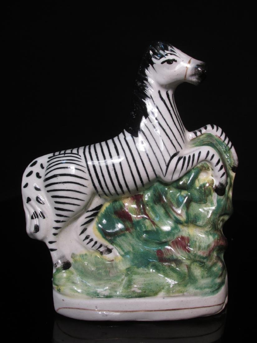 PAIR 19TH C STAFFORDSHIRE PORCELAIN ZEBRAS - 2