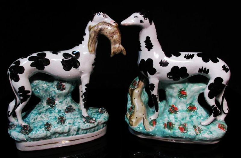 PAIR STAFFORDSHIRE DISREALI WHIPPETS W/ HARES