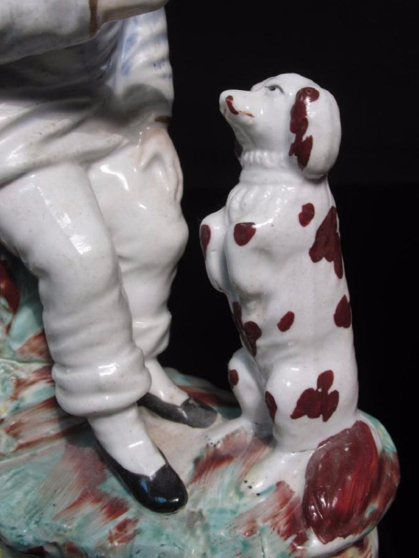 19TH C STAFFORDSHIRE FIGURINE MAN & BEGGING DOG - 3