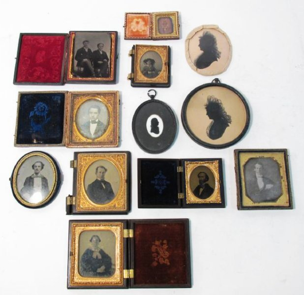ASSORTED DAGUERREOTYPES & THERMOPASTIC UNION CASES