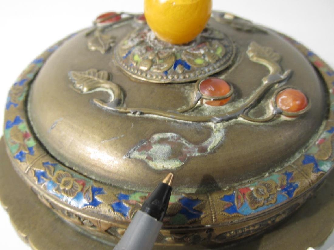 TWO ANTIQUE CHINESE ENAMELED BRASS COVERED JARS - 10