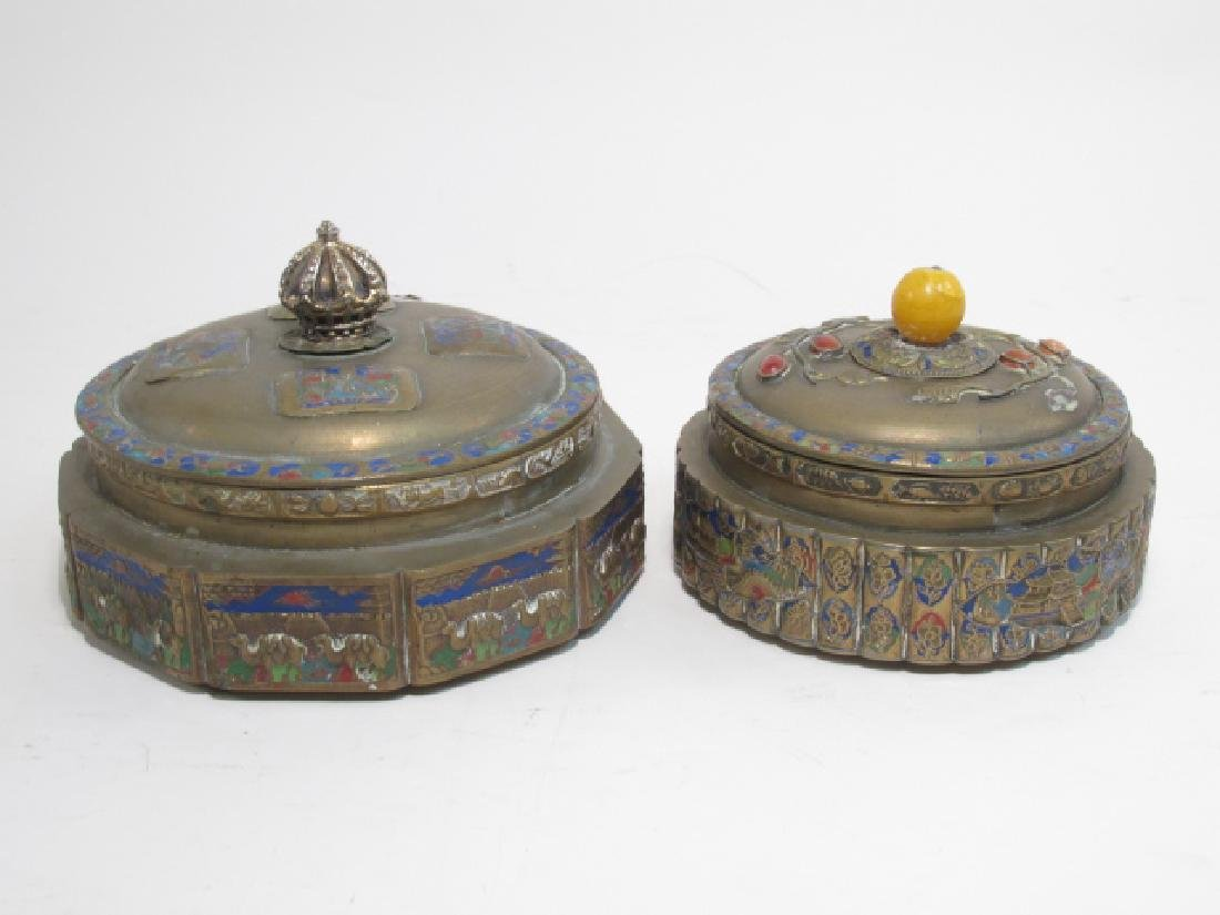 TWO ANTIQUE CHINESE ENAMELED BRASS COVERED JARS