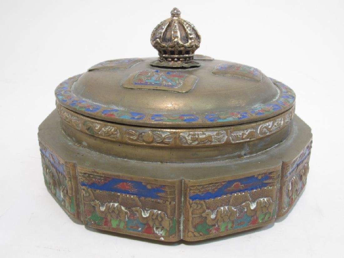 TWO ANTIQUE CHINESE ENAMELED BRASS COVERED JARS - 2