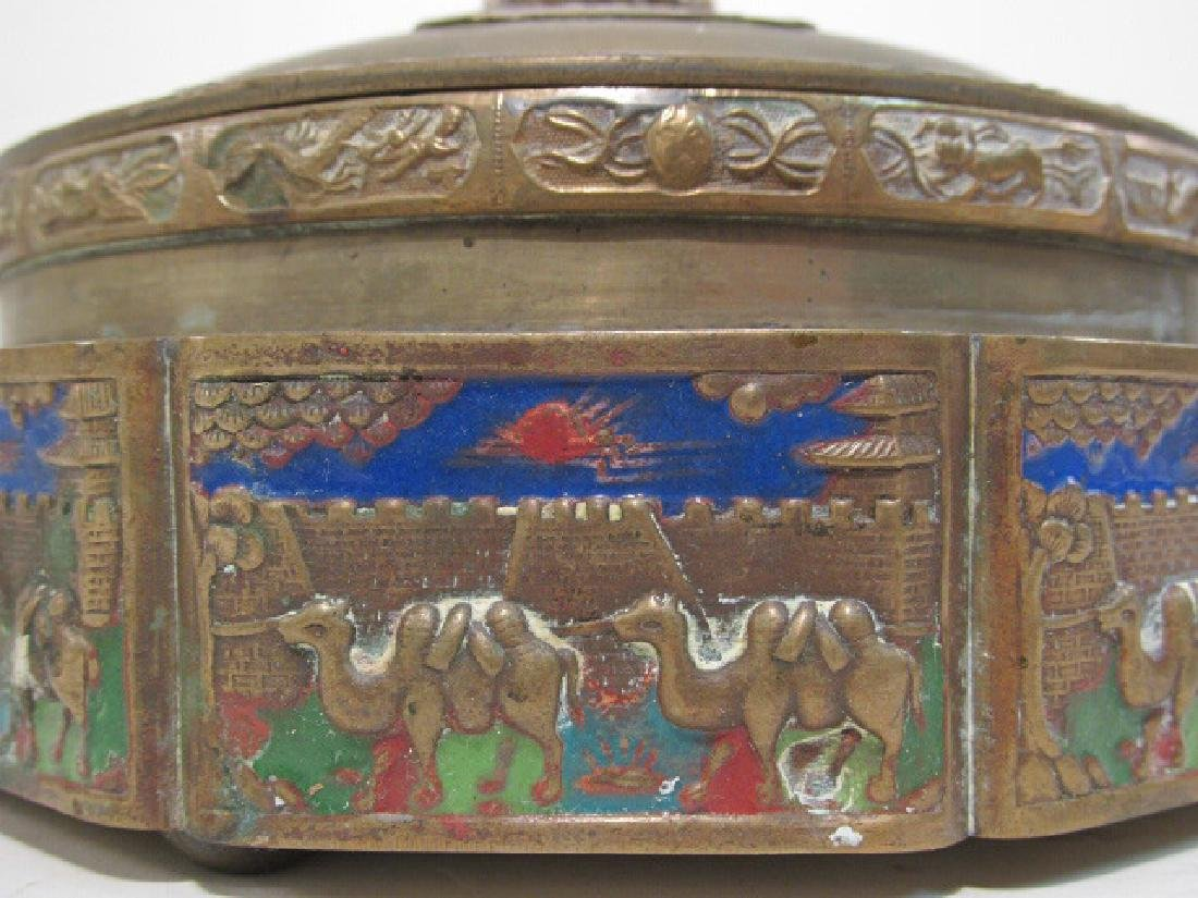 TWO ANTIQUE CHINESE ENAMELED BRASS COVERED JARS - 3