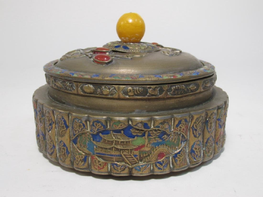 TWO ANTIQUE CHINESE ENAMELED BRASS COVERED JARS - 5