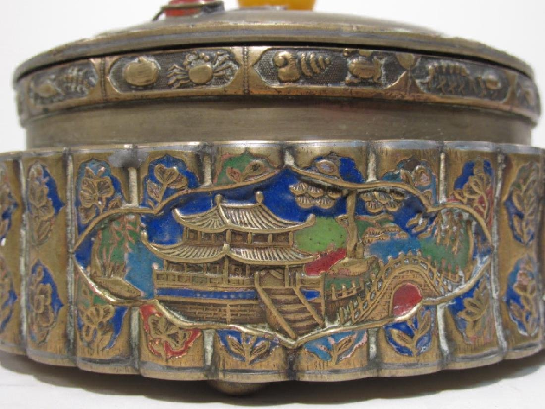TWO ANTIQUE CHINESE ENAMELED BRASS COVERED JARS - 6