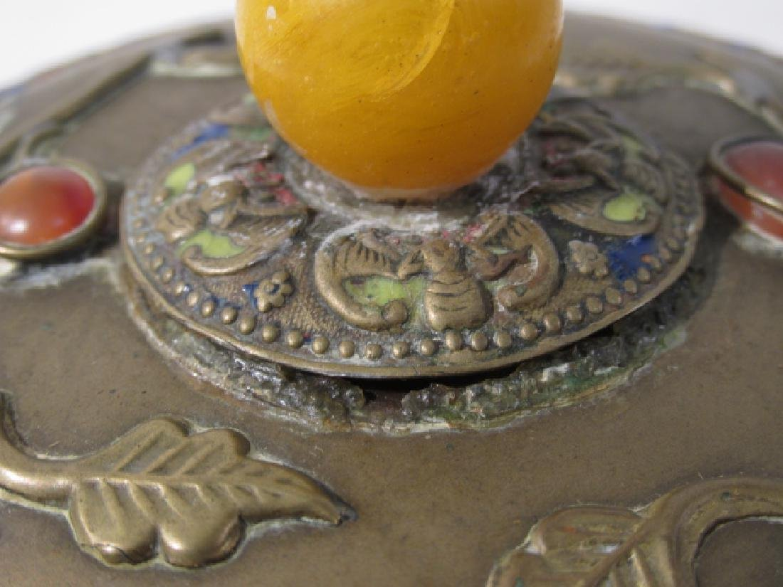 TWO ANTIQUE CHINESE ENAMELED BRASS COVERED JARS - 8
