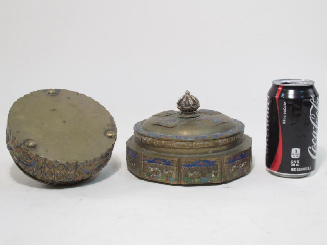 TWO ANTIQUE CHINESE ENAMELED BRASS COVERED JARS - 9