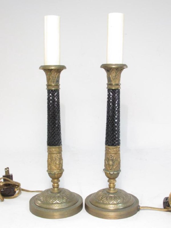 PAIR AUSTRIAN BRONZE & DEEP AMETHYST GLASS LAMPS