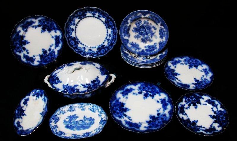 ASSORTED FLOW BLUE CERAMICS: PLATES, TUREEN, ETC.