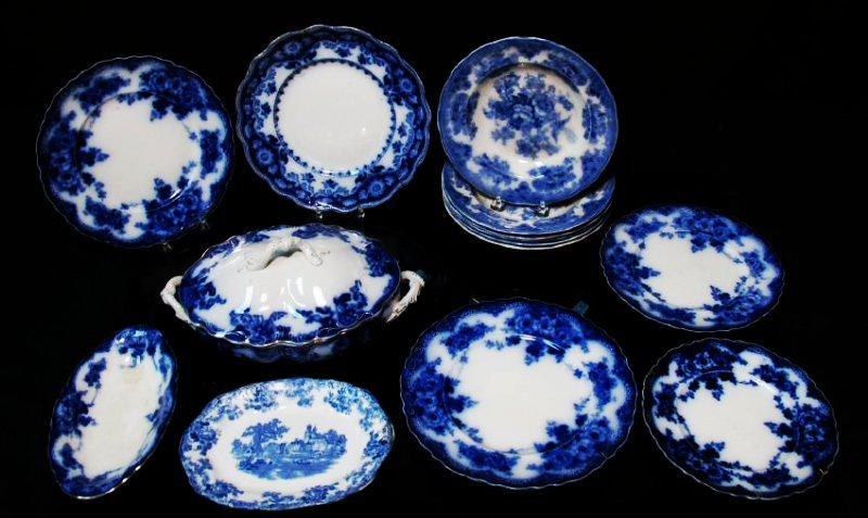 ASSORTED FLOW BLUE CERAMICS: PLATES, TUREEN, ETC.