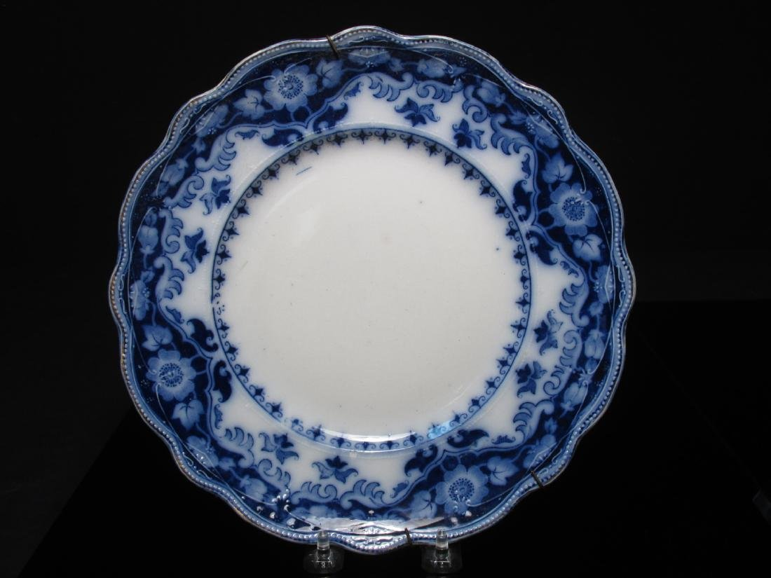 ASSORTED FLOW BLUE CERAMICS: PLATES, TUREEN, ETC. - 2