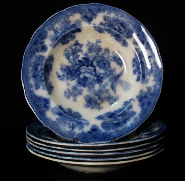 ASSORTED FLOW BLUE CERAMICS: PLATES, TUREEN, ETC. - 3