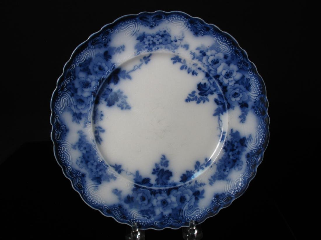 ASSORTED FLOW BLUE CERAMICS: PLATES, TUREEN, ETC. - 7