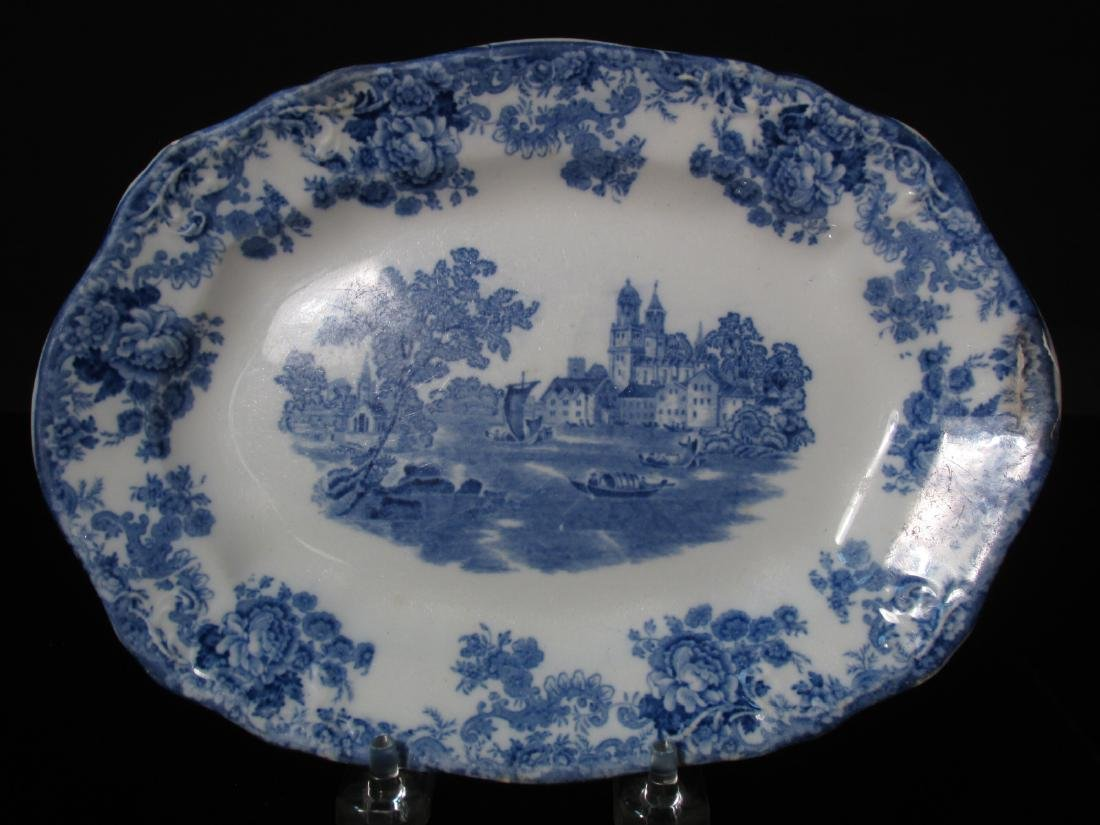 ASSORTED FLOW BLUE CERAMICS: PLATES, TUREEN, ETC. - 8