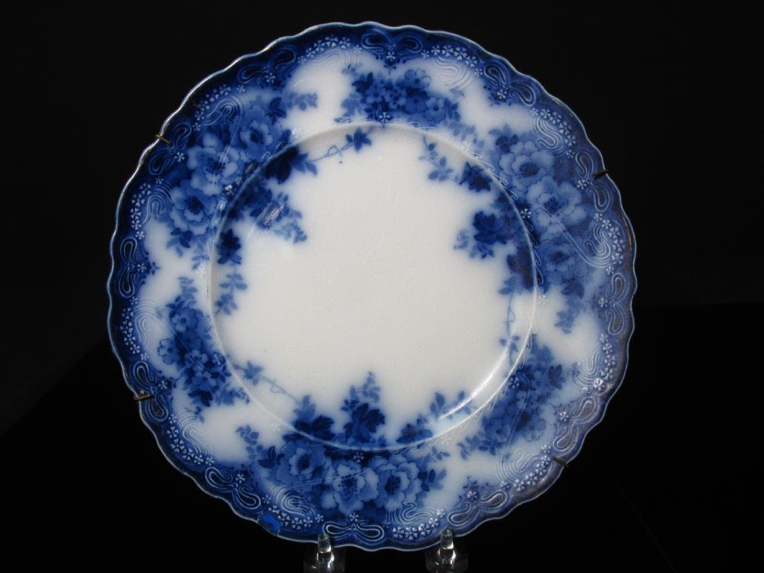 ASSORTED FLOW BLUE CERAMICS: PLATES, TUREEN, ETC. - 9