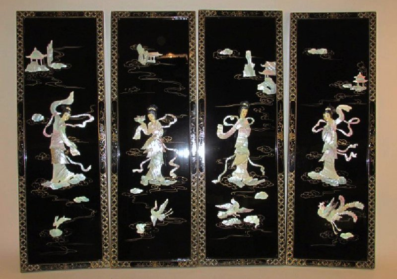 FOUR CHINESE BLACK LACQUER & MOTHER OF PEARL PANEL
