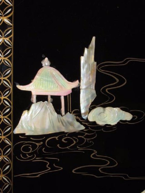 FOUR CHINESE BLACK LACQUER & MOTHER OF PEARL PANEL - 2