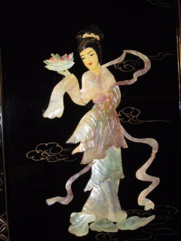 FOUR CHINESE BLACK LACQUER & MOTHER OF PEARL PANEL - 3
