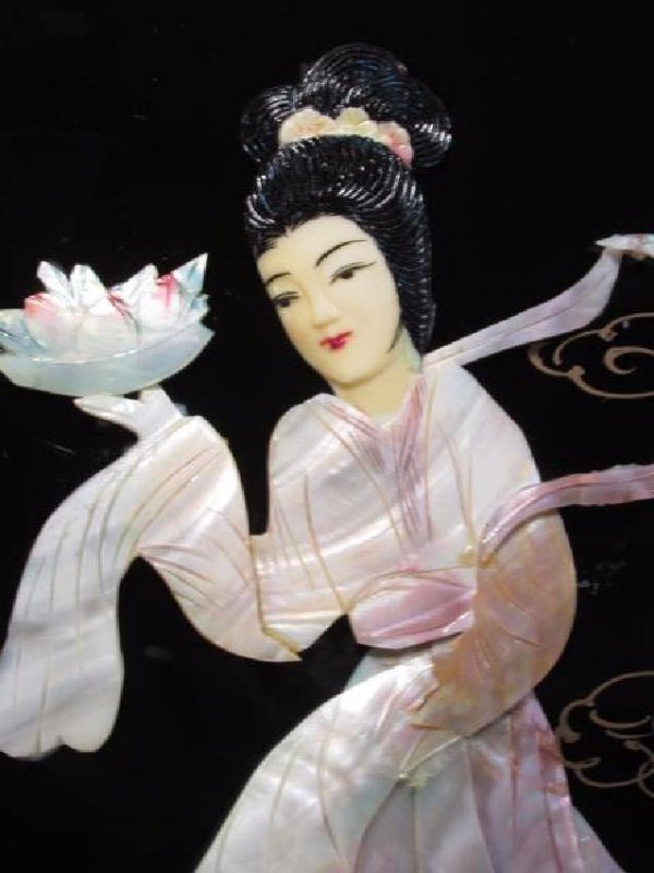 FOUR CHINESE BLACK LACQUER & MOTHER OF PEARL PANEL - 4