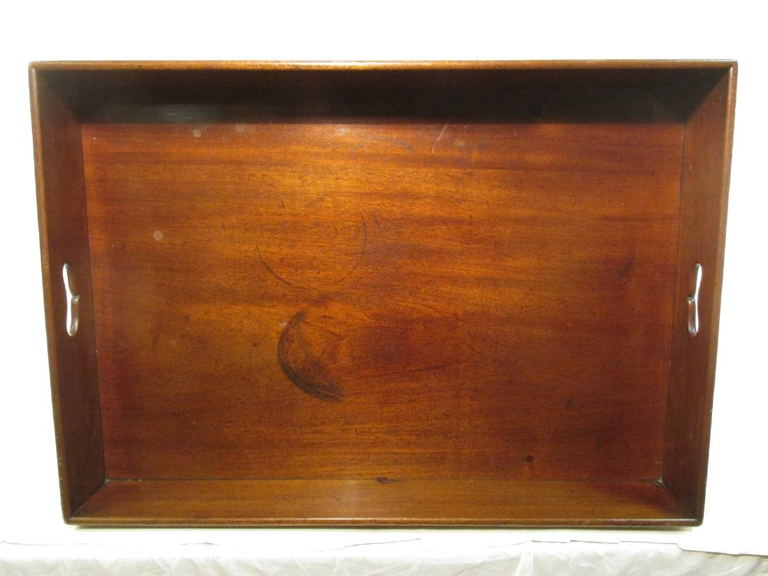 ANTIQUE CARVED CHERRYWOOD BUTLERS TRAY TABLE - 8