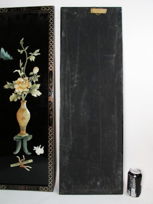 FOUR CHINESE BLACK LACQUER & STONE WALL PANELS - 10