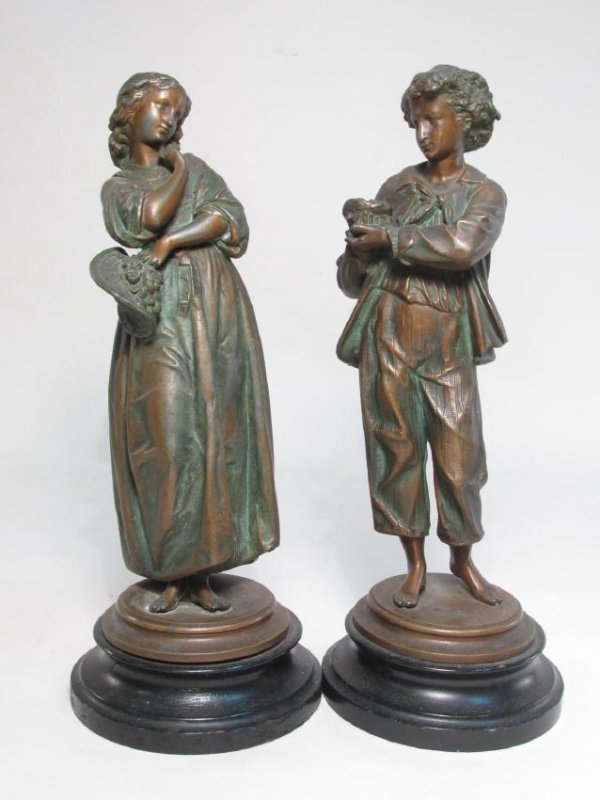 TWO ANTIQUE CONTINENTAL COPPER FINISHED FIGURES