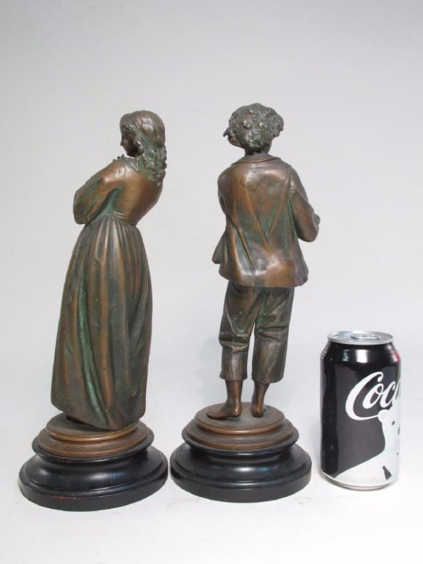 TWO ANTIQUE CONTINENTAL COPPER FINISHED FIGURES - 5
