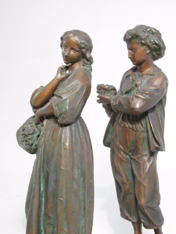 TWO ANTIQUE CONTINENTAL COPPER FINISHED FIGURES - 6